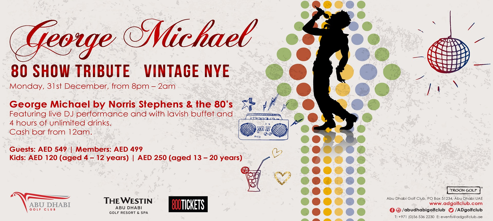 GEORGE MICHEAL - 80 Show Tribute Vintage NYE